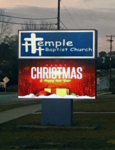 Temple Baptist Church Sign